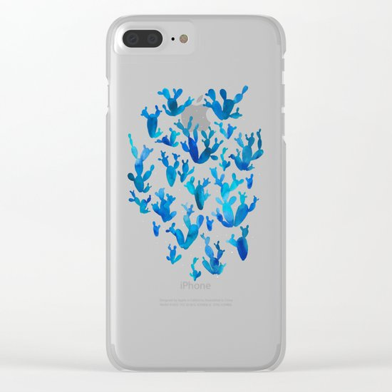 Desert night with cacti Clear iPhone Case