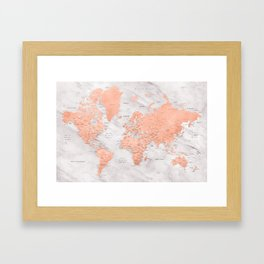 """Rose gold and marble world map with cities, """"Janine"""" Framed Art Print"""