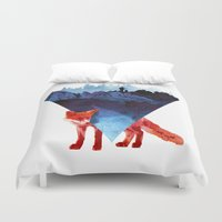 road Duvet Covers featuring Risky road by Robert Farkas