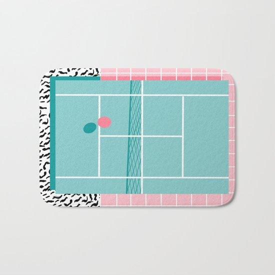 Baller - tennis sports retro pastel palm springs vacation athlete full court memphis style throwback Bath Mat