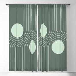 Mid Century Modern Geometric 63 (Rainbow and Sun Abstraction) Blackout Curtain