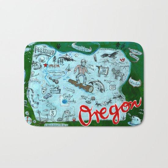 Map of Oregon Bath Mat