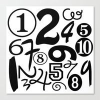 numbers Canvas Prints featuring Numbers by Sweet Colors Gallery