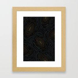 Star Spatter Swirl - Gold + Blue Framed Art Print