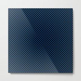 Black and Lapis Blue Polka Dots Metal Print