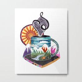 Mountain Coffee Metal Print