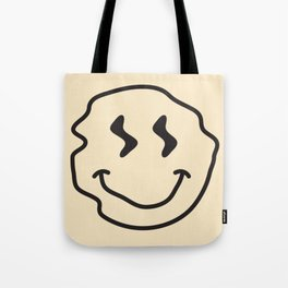 Wonky Smiley Face - Black and Cream Tote Bag