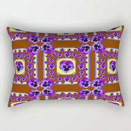 SPRING PANSY FLOWERS COFFEE BROWN GARDEN Rectangular Pillow