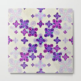 Deluxe Ornate Pattern Design in Blue and Fuchsia Colors Metal Print