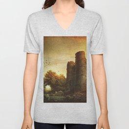 Castle Ruin Unisex V-Neck