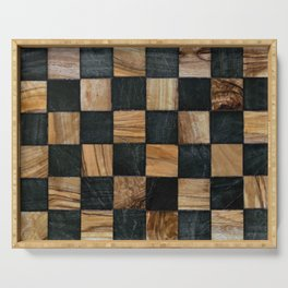 Chequered Past, Carved Wood Chess Board Serving Tray