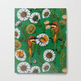 Bee eaters on a spring meadow    Metal Print