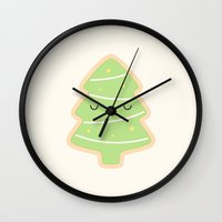 christmas tree Wall Clocks featuring Christmas Tree by kim vervuurt