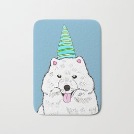 Samoyed with Party Hat Bath Mat