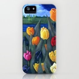Dutch Tulips, Bright Colorful Flower Painting iPhone Case