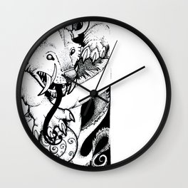 Curled Canine Wall Clock