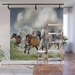 8 Horses Running Wall Mural