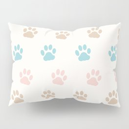 Cute Cat Paw Print Pattern – Pink Blue Brown and Cream Pillow Sham