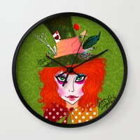 mad hatter Wall Clocks featuring Mad Hatter by Lunah