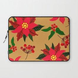 Winter Floral, Christmas Stars Laptop Sleeve