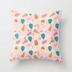 Alien outer space cute aliens french fries rad sodas pattern print pink Throw Pillow