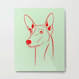 Pharaoh Hound (Light Olive and Red) Metal Print