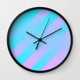 Stripes Diagonal Gradient Aqua & Pink Wall Clock