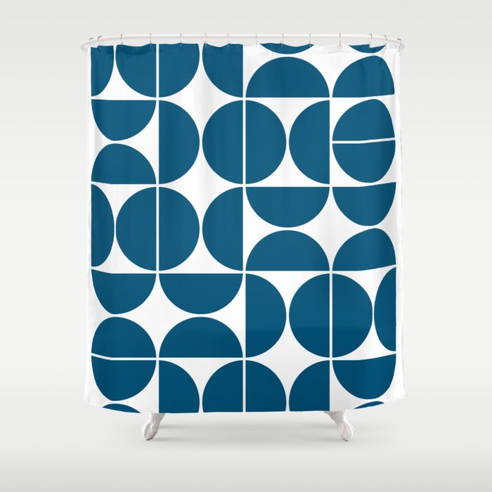 Mid Century Modern Geometric 04 Blue Shower Curtain