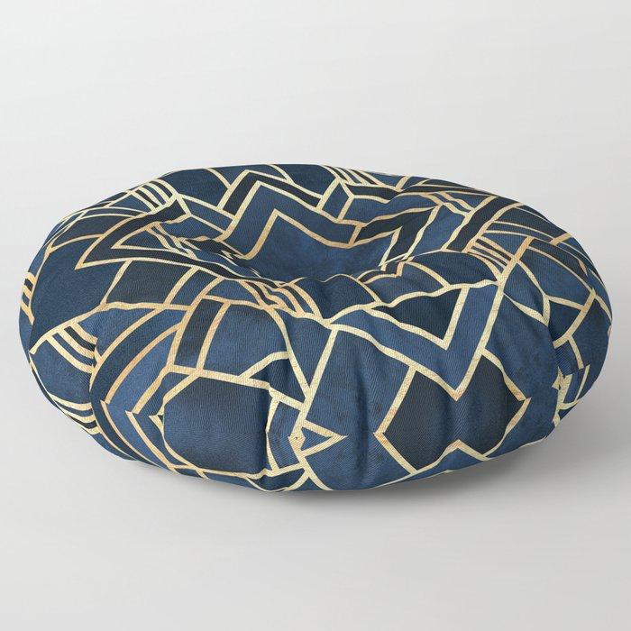 Art Deco Fancy Blue Floor Pillow