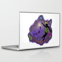 tinker bell Laptop & iPad Skins featuring Sihouette Tinker Bell by Katie Simpson a.k.a. Redhead-K
