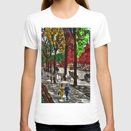'Saturday on Broadway with George' Landscape by Jeanpaul Ferro T-shirt