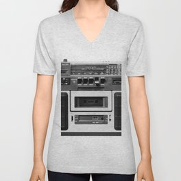 cassette recorder / audio player - 80s radio Unisex V-Neck