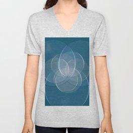 Blue Yoga Lotus Unisex V-Neck