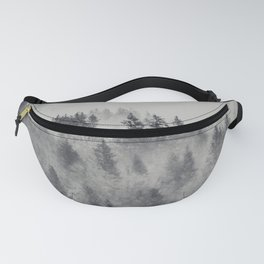 Black and White Charcoal Fog Forest Fanny Pack