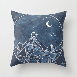 Night Court moon and stars Throw Pillow