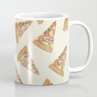 pizza Mugs featuring pizza by Maha Akl