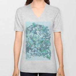 "Alphonse Mucha ""Printed textile design with hollyhocks in foreground"" (edited blue) Unisex V-Neck"