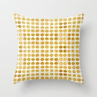 gold dots Throw Pillows featuring Gold Dots by MORE by Jamie Preston