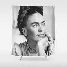 Frida Kahlo, Black and White Vintage Art Shower Curtain