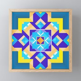 Geometric Tribal Mandala Inspired Modern Trendy Vibrant (Blue, Cobalt, Yellow, Orange, Purple) Framed Mini Art Print