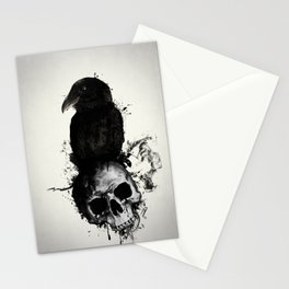 Raven and Skull Stationery Cards