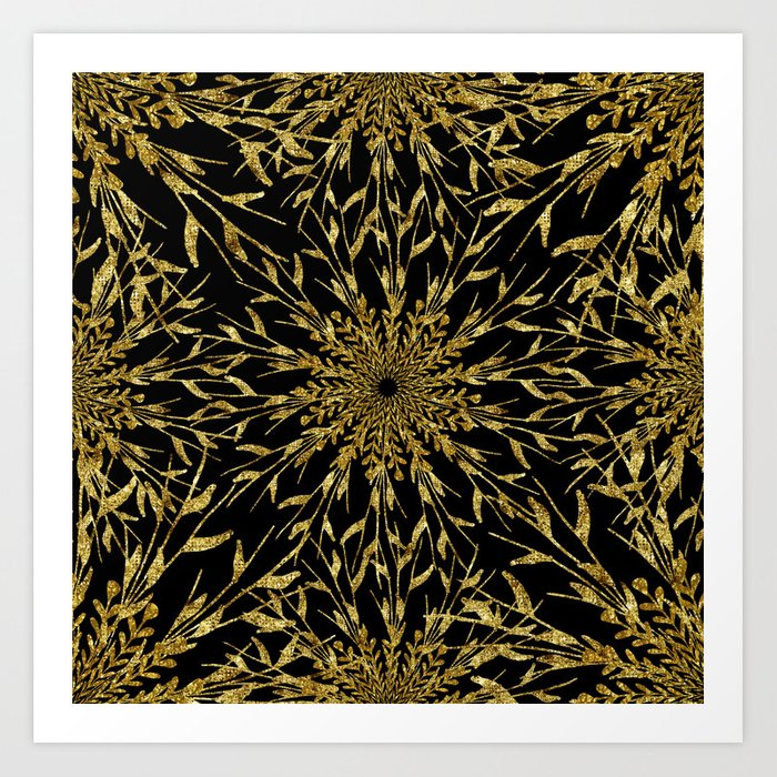 Black Gold Glam Nature Art Print