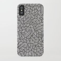 Black and white swirls doodles iPhone X Slim Case
