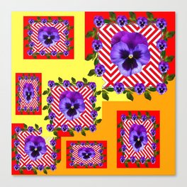 RED & PURPLE PANSIES YELLOW-ORANGE ABSTRACT Canvas Print
