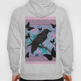 BLACK CROW & BUTTERFLIES PINK ART Hoody