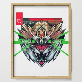 Cyberpunk Animal Print Tiger Vaporwave Urban Streetwear Style Outfits Serving Tray