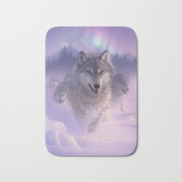 Wolf Pack Running - Northern Lights Bath Mat