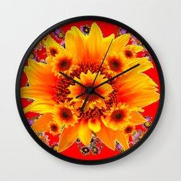 Red & Yellow Sunflower Art Wall Clock