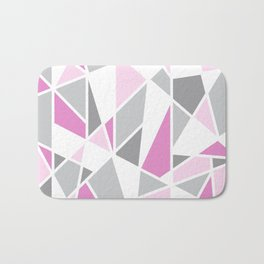 Geometric Color Blocks in Pink and Gray Bath Mat