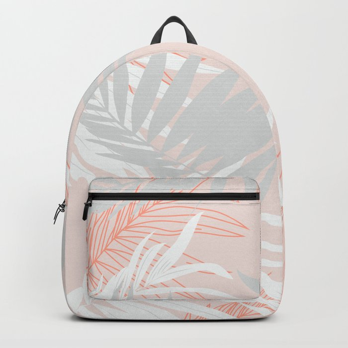 Pink and gray minimalist leaf Backpack
